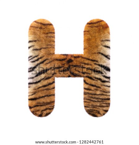 87f0a64a800 Tiger letter H - large 3d Feline fur font isolated on white background.  This alphabet