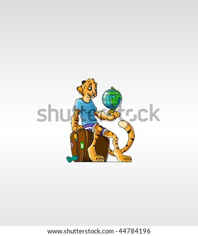 tiger sitting on a bag and holding a globe