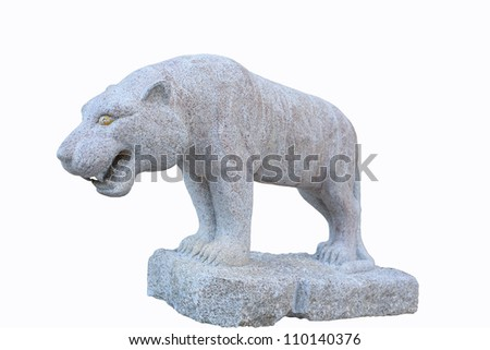 Tiger Statue isolated on white black background