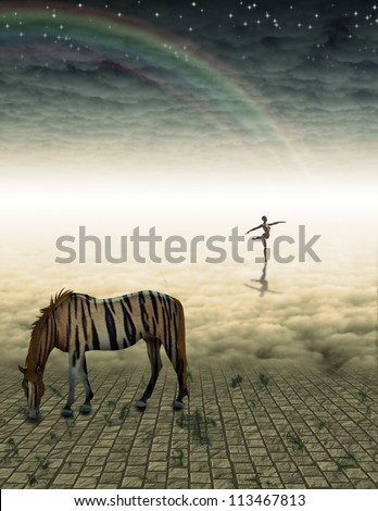 Tiger Striped Horse in mysterious landscape