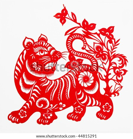 tiger,These paper cuttings represent the Chinese Zodiac, such as mouse, ox, and tiger.