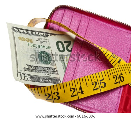 Tight Budget Concept with Open Wallet with Money Squeezed by a Measuring Tape.