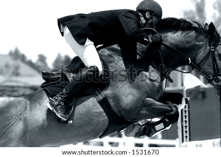 Tight close-up image of horse & rider starting to clear a jump in an equestrian showjumping event (shallow focus, high contrast black and white).