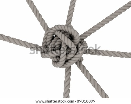 Tightrope knot 3D on white