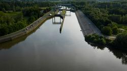 Tijsluis - a lock on the Dender river, near the confluence with the Scheldt river, in Dendermonde, Belgium