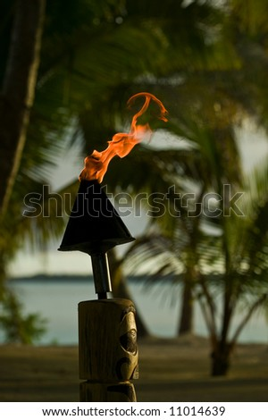 Tiki Torch on a tropical island