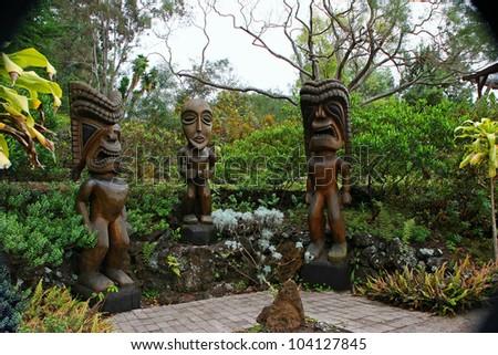 Tiki Wood Carving in the Beautiful Kula Botanical Garden Kula Maui Hawaii