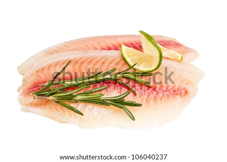 tilapia fillet with a slice of lemon and rosemary isolated on white background