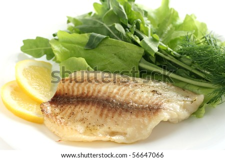 tilapia with lettuce and rucola