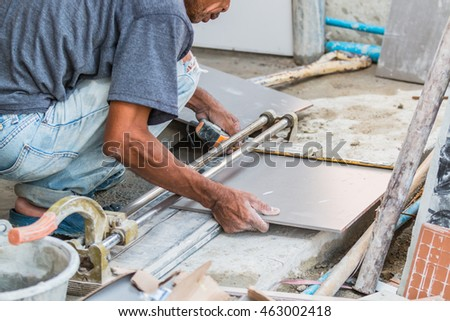 Tile Cutting Worker Working With Floor Tile Cutting Ez Canvas