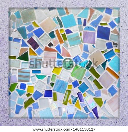 Tile decor with mosaic insert. Scandinavian style. Decorative insert #1401130127