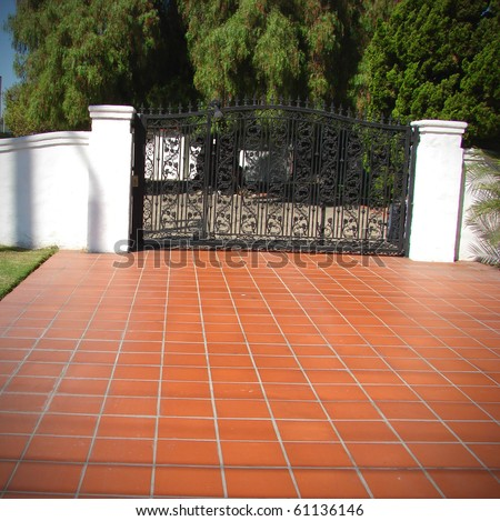 tile driveway with security gate