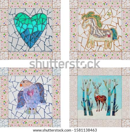 Tile mosaic decor. Mosaic bird and mosaic deer, heart and horse.