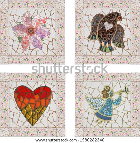 Tile mosaic decor. Mosaic bird and mosaic flowers, heart and angel.