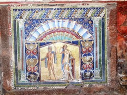 Tile mosaic in the ancient city of Herculaneum, in Italy, destroyed in 79AD by the eruption of Mount Vesuvius