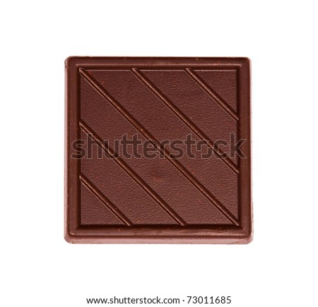 Tile of dark chocolate on the white background