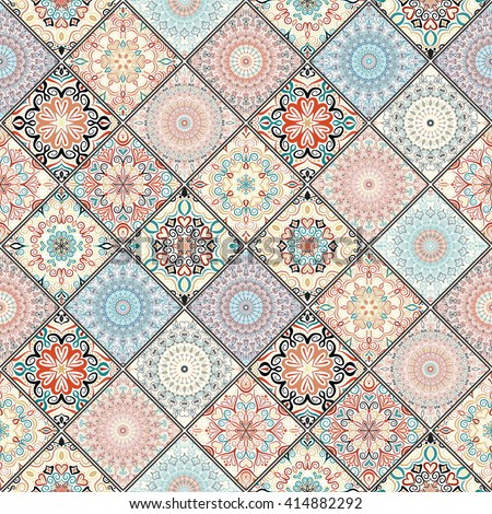 Tile ornament, tile mandalas, colorful tile. Seamless tile, tile pattern, oriental tile. Square tile, patchwork tile. Tile design, boho tile, tile floor, tile wall, tile wallpaper, tile fabric, tile.