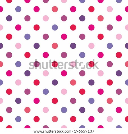 Tile red, pink, blue and violet polka dots pattern on white background