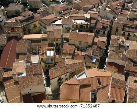 Tile roofs of Cefalu city, Italy