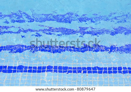 tile stairs in the blue water of the pool