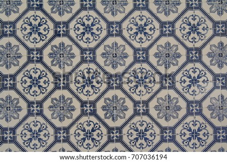Tile Texture Blue Decoration On Off White Background Circular Pattern