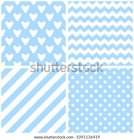 Tile vector pattern with chevron zig zag, hearts, polka dots and stripe background #1091136419