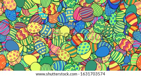 Tileable seamless banner background with lots of colorful cartoon Easter eggs for Easter
