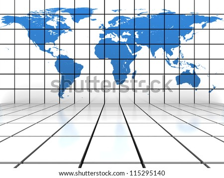 Tiled background scene with blue world map on the vertical wall. Elements of this image furnished by NASA