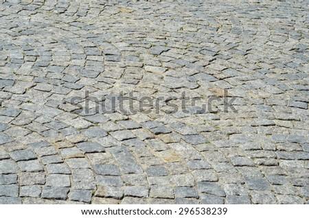 Tiled pavement background. Circle paving #296538239