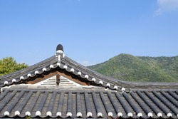 tiled roof of Korean traditional Architecture with clear sky