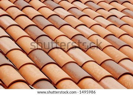 tiled rooftop. - stock photo