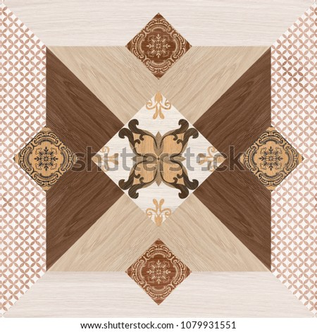 tiled wall and floor background texture with various geometrical shapes #1079931551