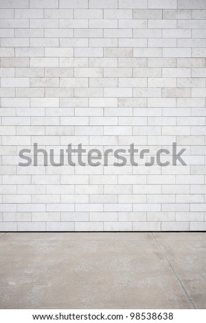 Tiled wall with a blank white bricks