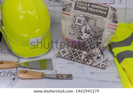 Tiler Graphic Resource with Home Plan Safety Equipment and Tiling Equipment