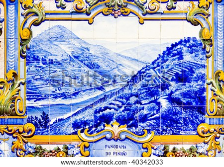 tiles (azulejos) at railway station of Pinhao, Douro Valley, Portugal