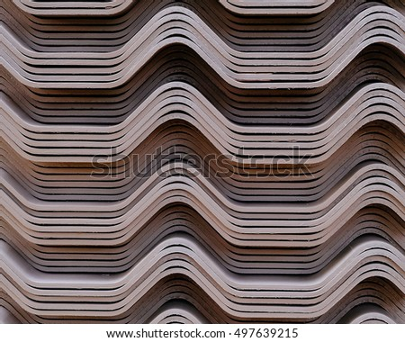 Tiles on the roof , curved stripes wave - Shutterstock ID 497639215