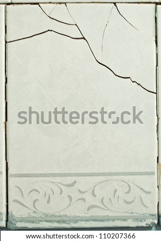 Tiles with a crack - structural damage