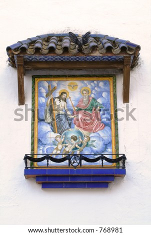 Tiles with religious reasons in the outside of the church of the Vinyet virgin, Sitges. Stok fotoğraf ©