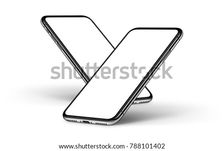 Tilt back falling down rotated smartphones mockup front sides with shadows on white background.
