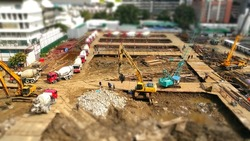 tilt shift big project of construction work  with day light