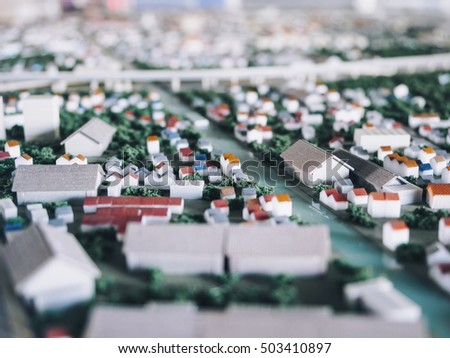 Tilt shift blur effect Architecture Model city town plan street view  #503410897