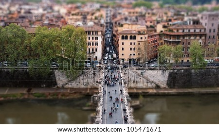 tilt shift Bridge - stock photo