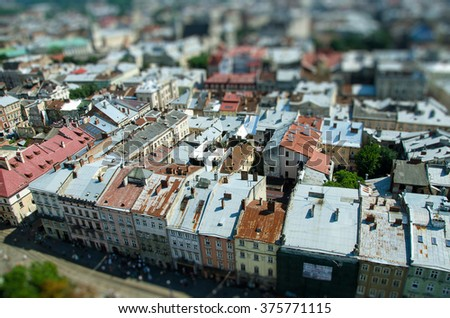 tilt shift town roof - stock photo