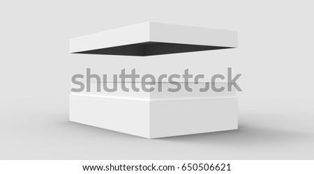 tilt white flat 3d rendering blank open box, isolated gray background stock photo