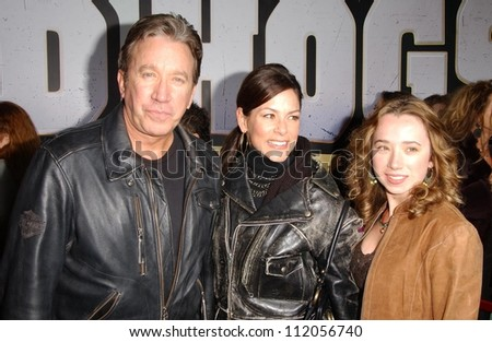 "Tim Allen with Jane Hajduk and daughter Kady at the world premiere of ""Wild Hogs"". El Capitan Theatre, Hollywood, CA. 02-27-07"