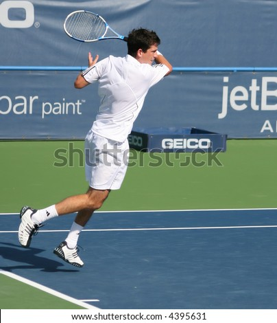 Tim Henman, a star of Britain's pro tennis, completing a forehand shot at the US Open Series event, Leggmason 2007, in Washington DC.