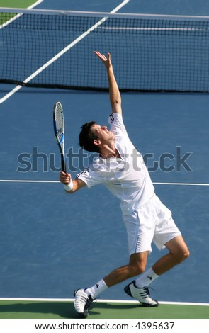 Tim Henman, a star of Britain's pro tennis, preparing to serve at the US Open Series event, Leggmason 2007, in Washington DC.