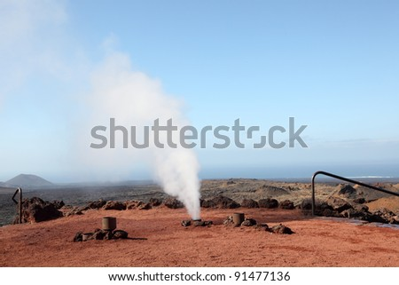 Timanfaya National Park, explosion of water because of hot volcano underground. Lanzarote, Spain