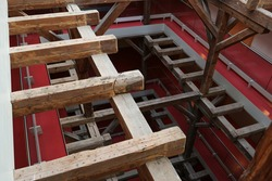 Timber construction over several floors in the historic malt factory of Grevesmuehlen, today  industrial monument and part of district administration of Northwest Mecklenburg, Germany, selected focus