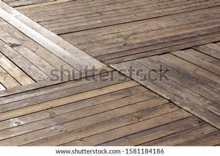 Timber flooring. Deck of wood planks.